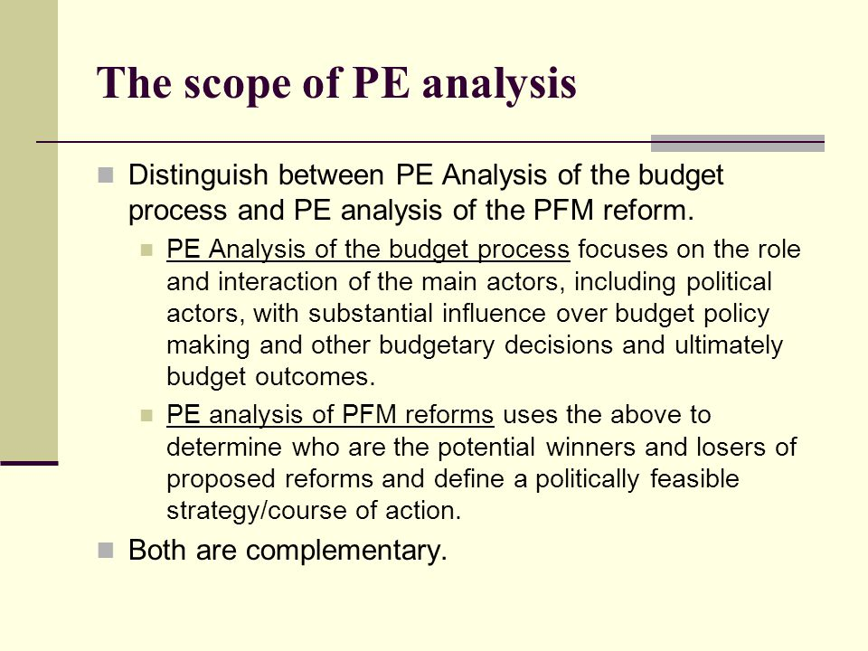 The scope of PE analysis