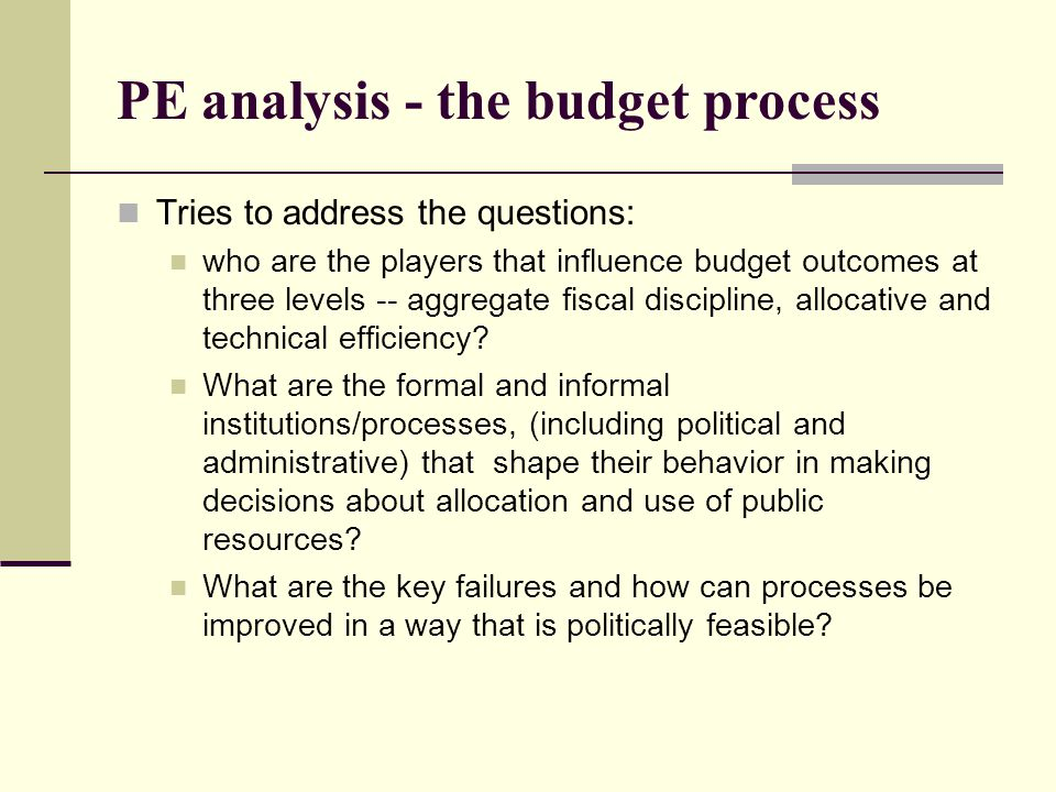 PE analysis - the budget process
