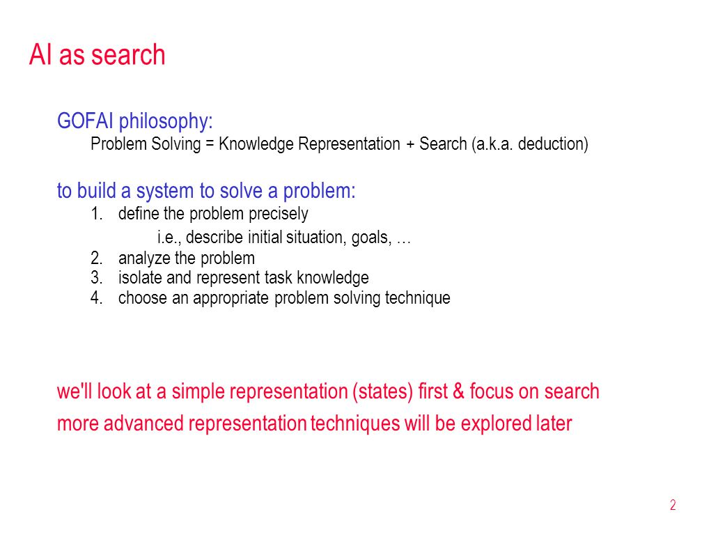 AI as search GOFAI philosophy: to build a system to solve a problem: