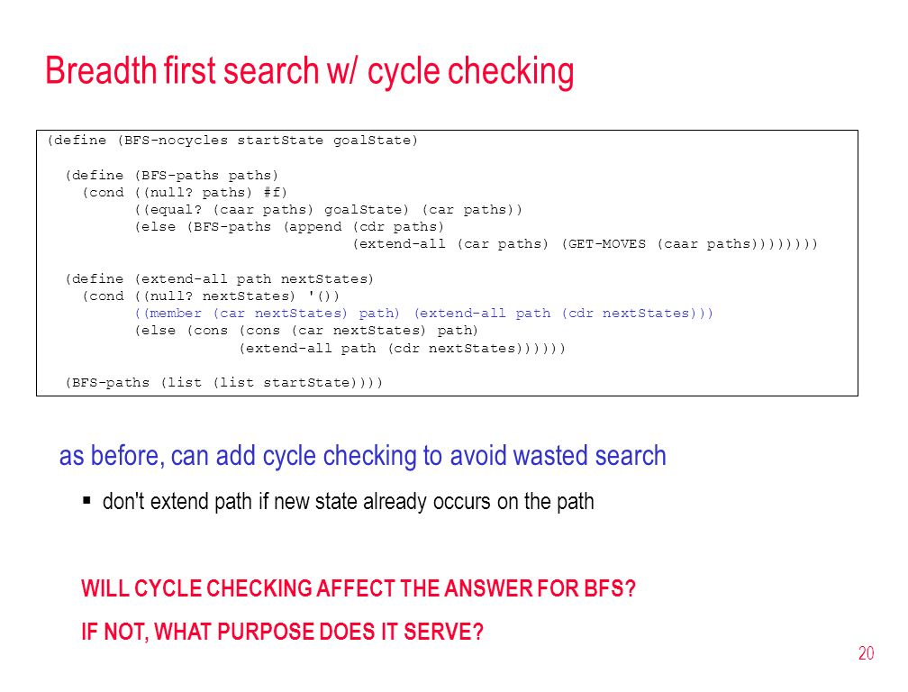 Breadth first search w/ cycle checking