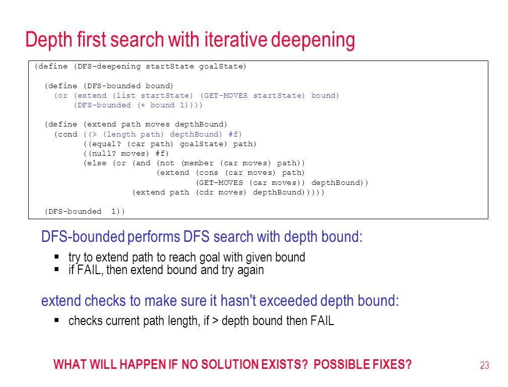 Depth first search with iterative deepening