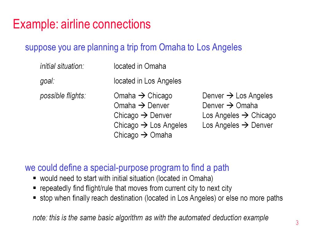 Example: airline connections