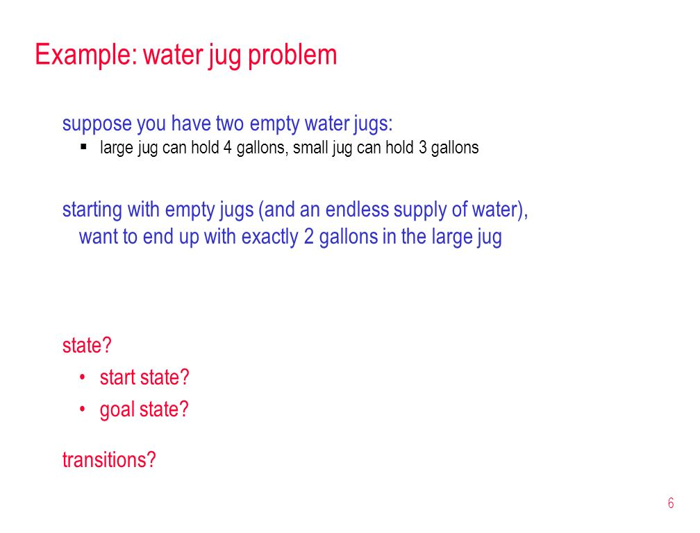 Example: water jug problem