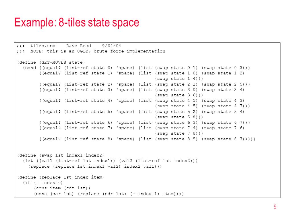 Example: 8-tiles state space