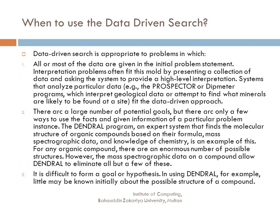 When to use the Data Driven Search