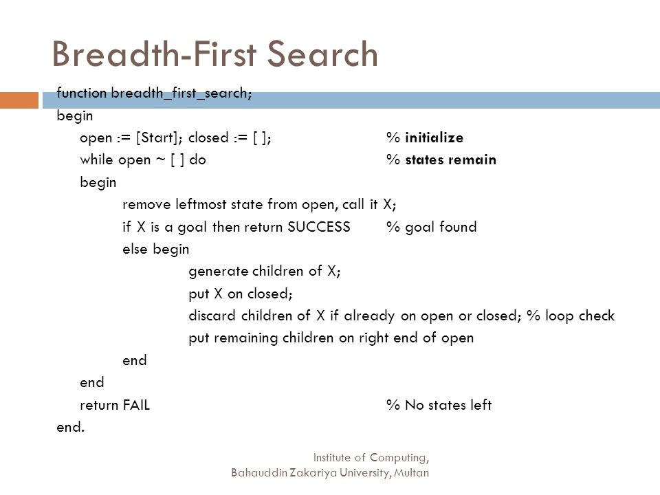 Breadth-First Search function breadth_first_search; begin
