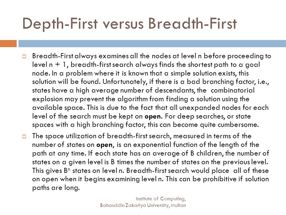 Depth-First versus Breadth-First