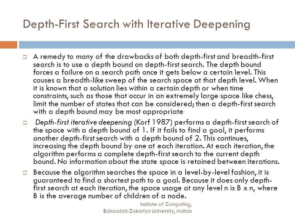 Depth-First Search with Iterative Deepening