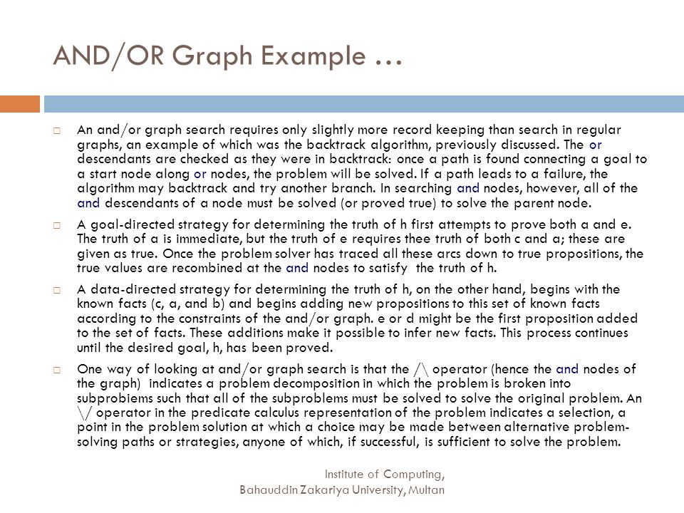 AND/OR Graph Example …