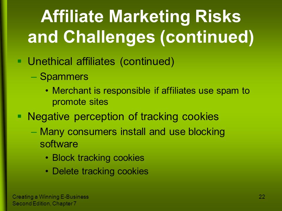 Affiliate Marketing Risks and Challenges (continued)