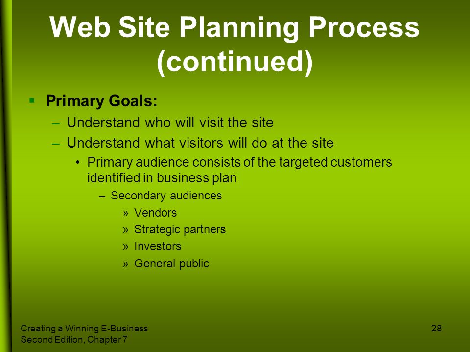 Web Site Planning Process (continued)