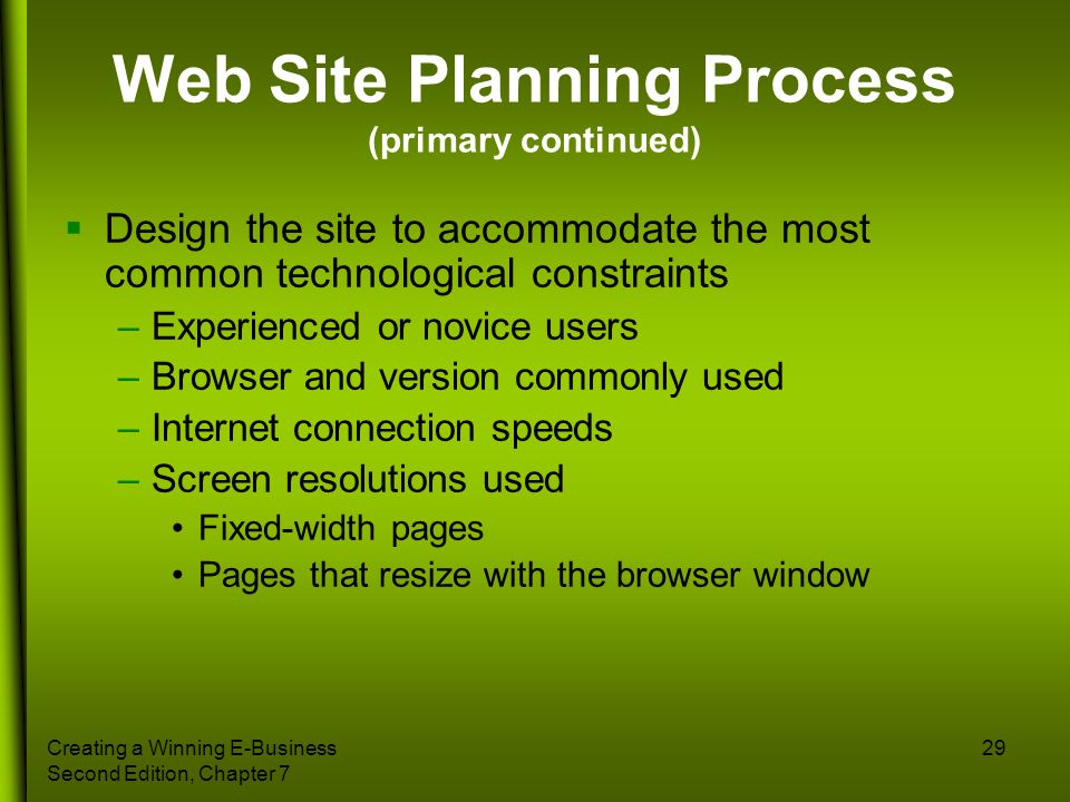 Web Site Planning Process (primary continued)