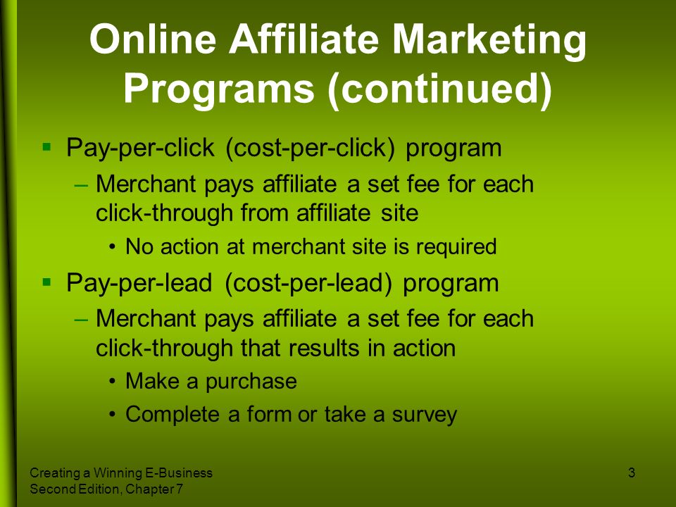 Online Affiliate Marketing Programs (continued)