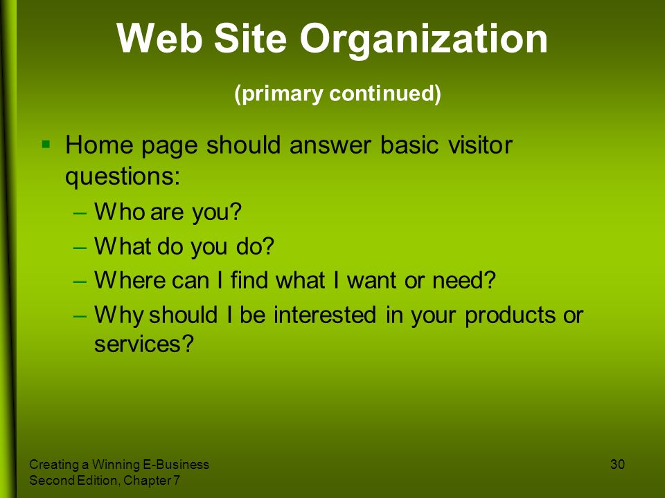 Web Site Organization (primary continued)