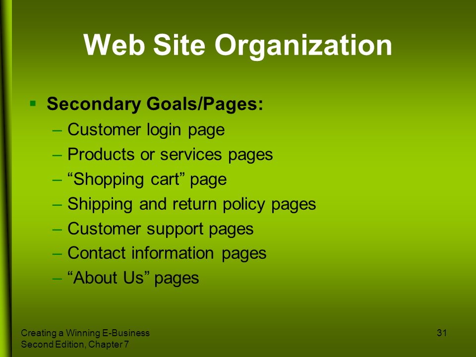 Web Site Organization Secondary Goals/Pages: Customer login page