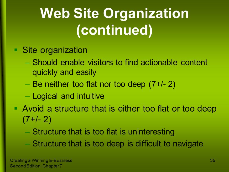 Web Site Organization (continued)