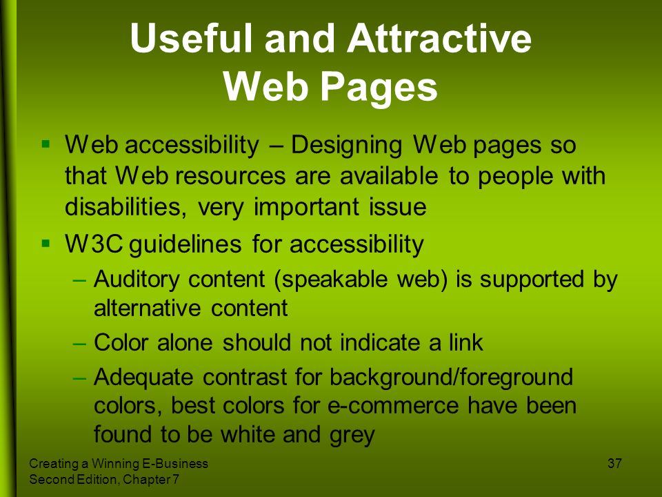 Useful and Attractive Web Pages