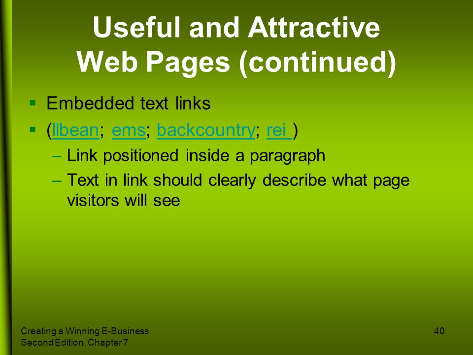 Useful and Attractive Web Pages (continued)