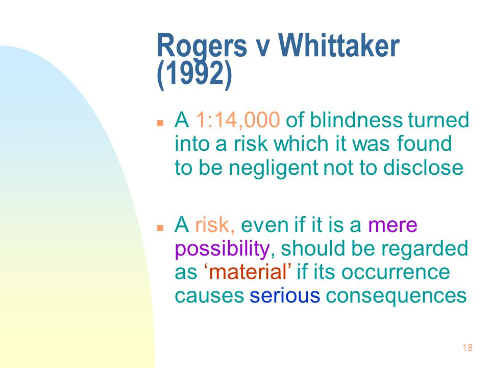 Rogers v Whittaker (1992) A 1:14,000 of blindness turned into a risk which it was found to be negligent not to disclose.