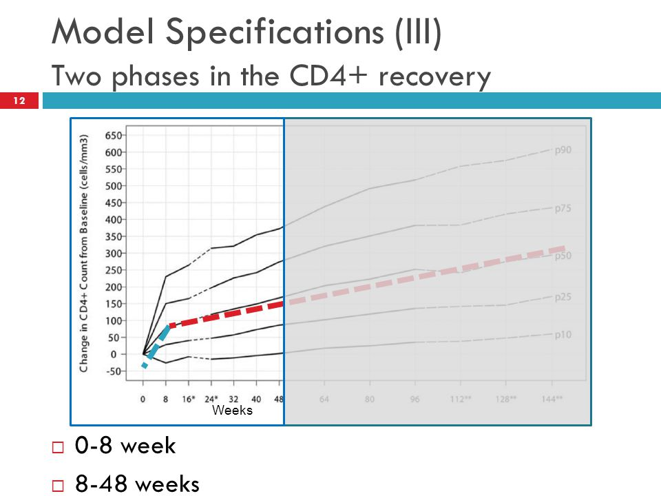 Model Specifications (III) Two phases in the CD4+ recovery