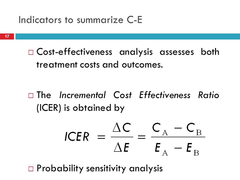 Indicators to summarize C-E