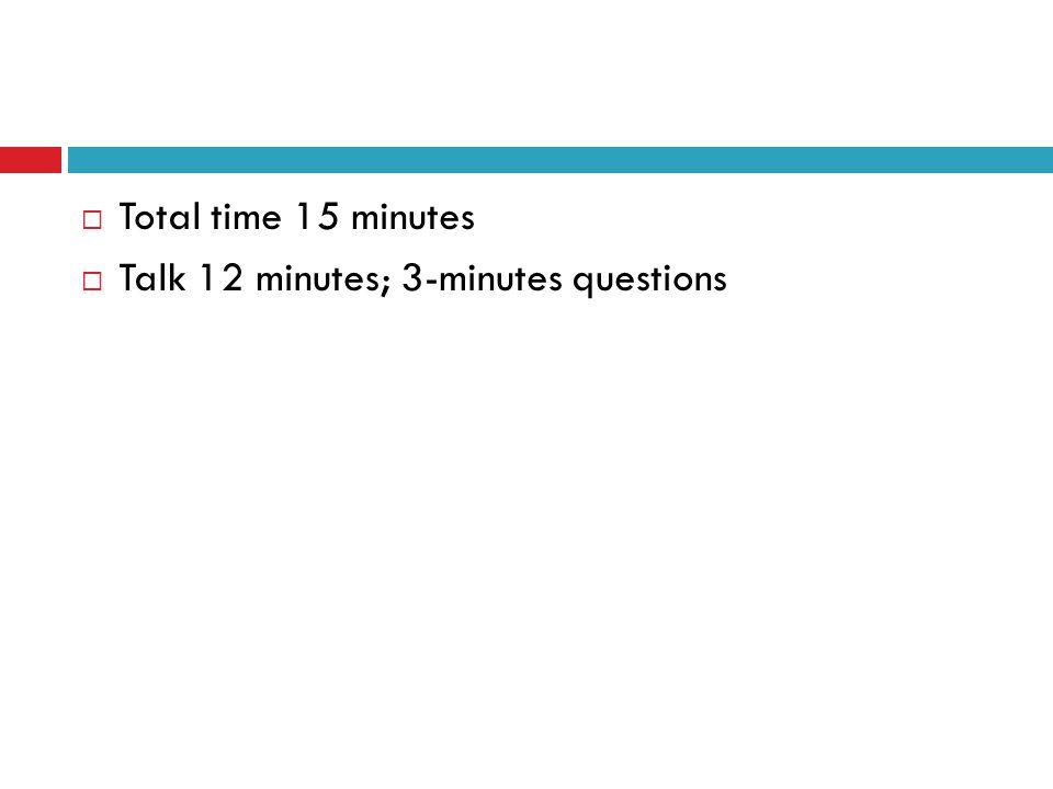 Total time 15 minutes Talk 12 minutes; 3-minutes questions