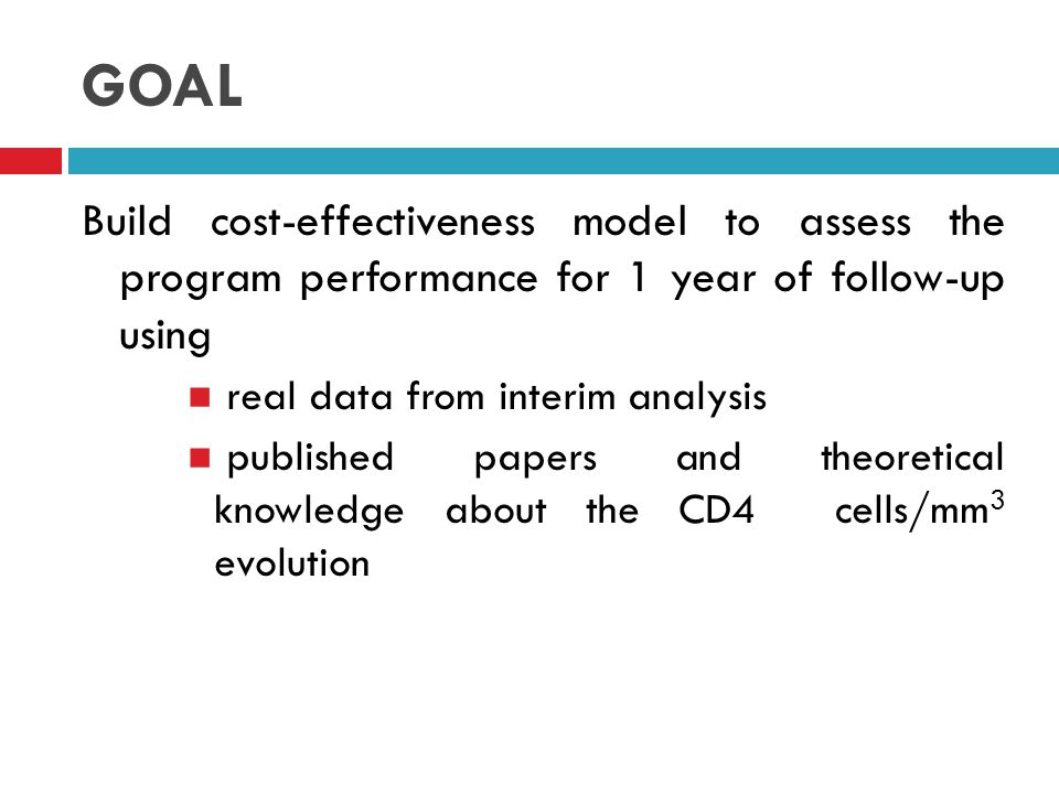 GOAL Build cost-effectiveness model to assess the program performance for 1 year of follow-up using.