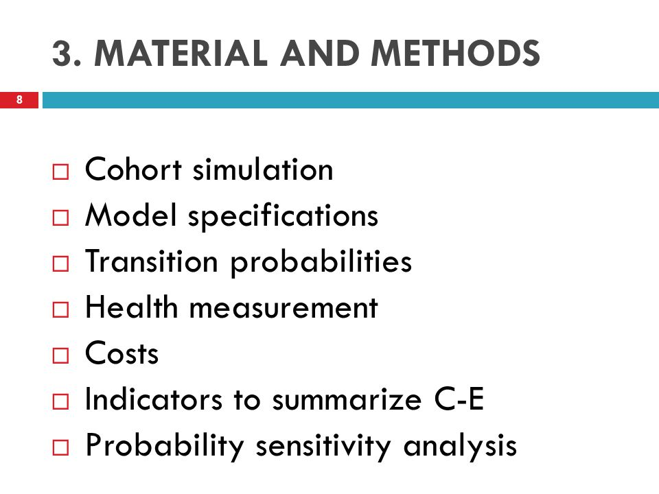 3. MATERIAL AND METHODS Cohort simulation Model specifications