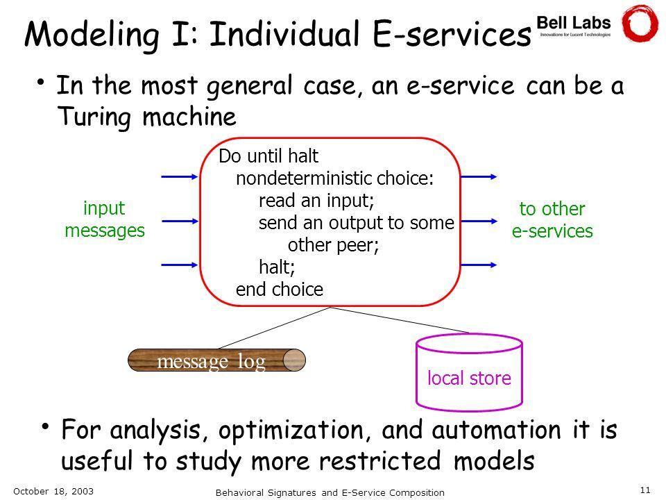 Modeling I: Individual E-services