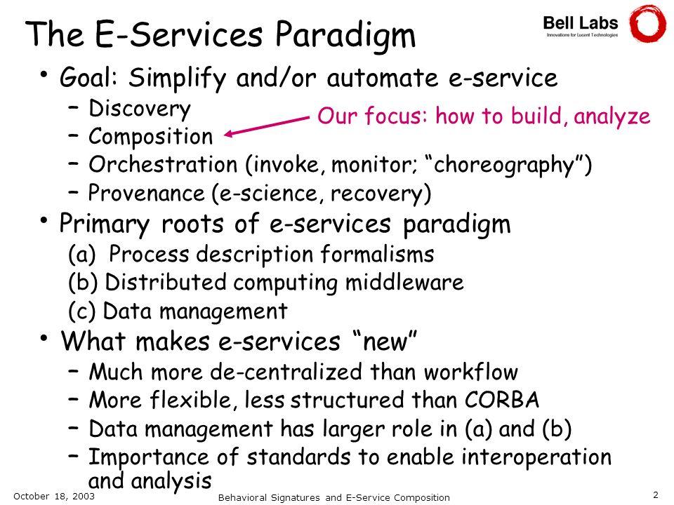 The E-Services Paradigm