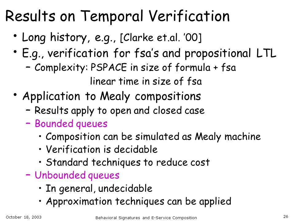Results on Temporal Verification