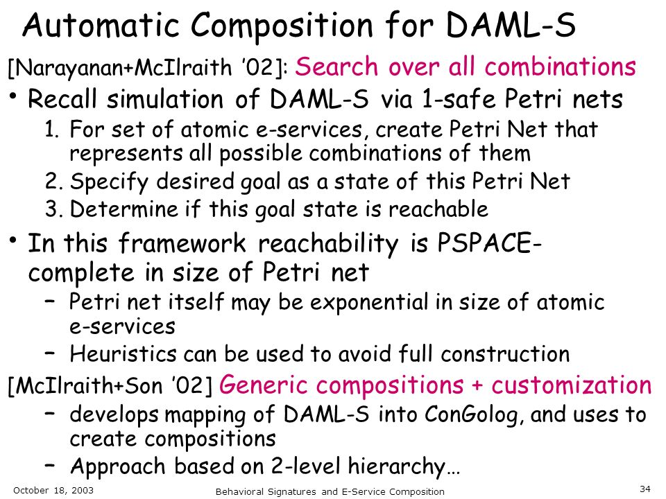 Automatic Composition for DAML-S