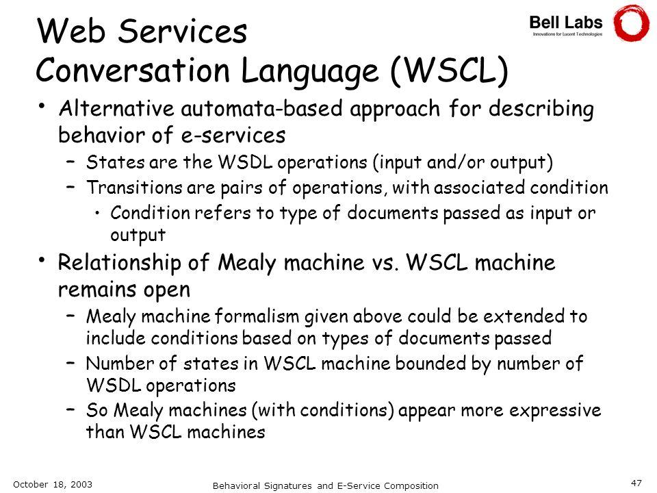 Web Services Conversation Language (WSCL)