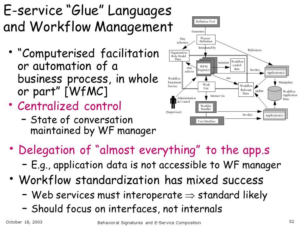 E-service Glue Languages and Workflow Management