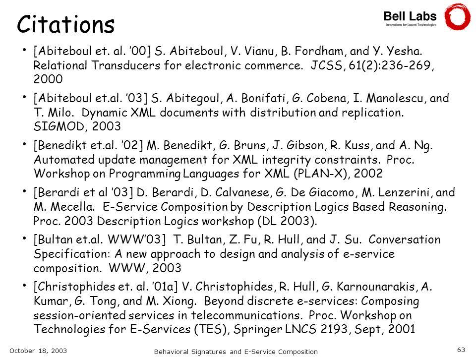 Behavioral Signatures and E-Service Composition