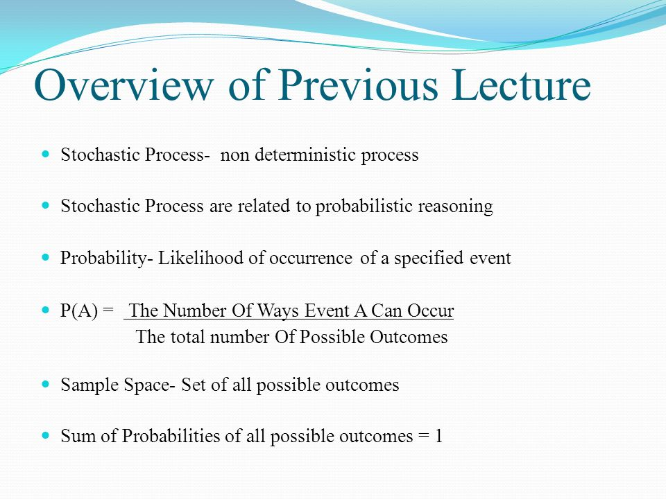 Overview of Previous Lecture