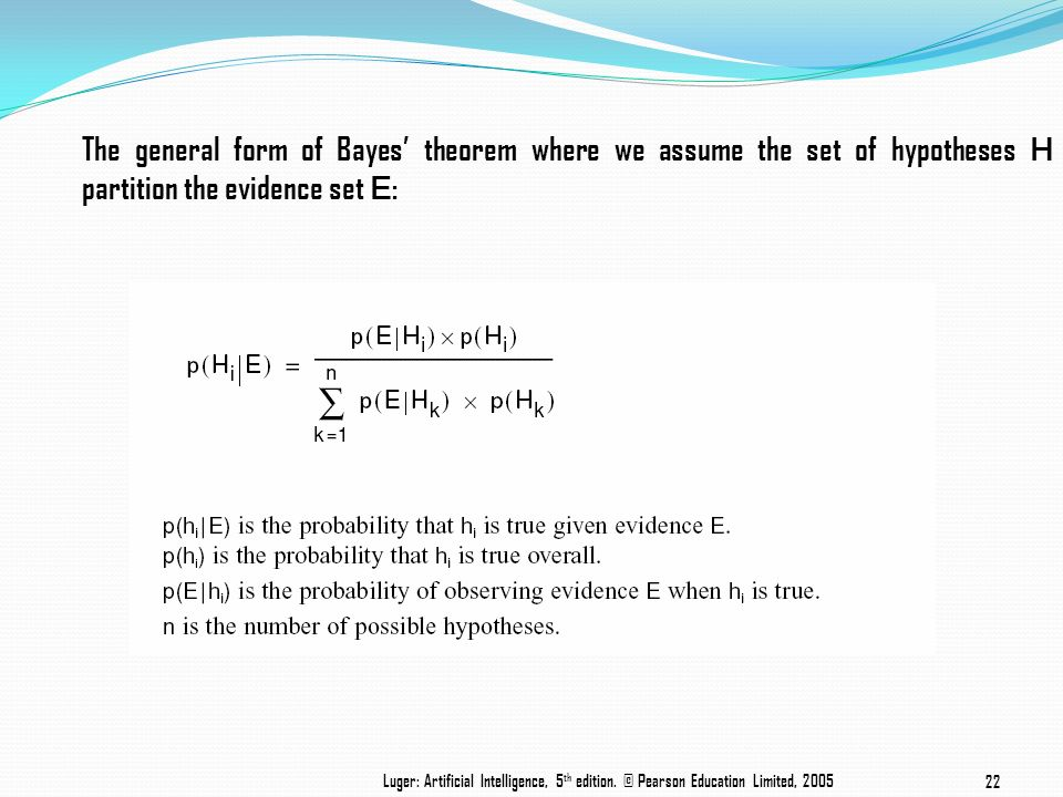 The general form of Bayes' theorem where we assume the set of hypotheses H partition the evidence set E: