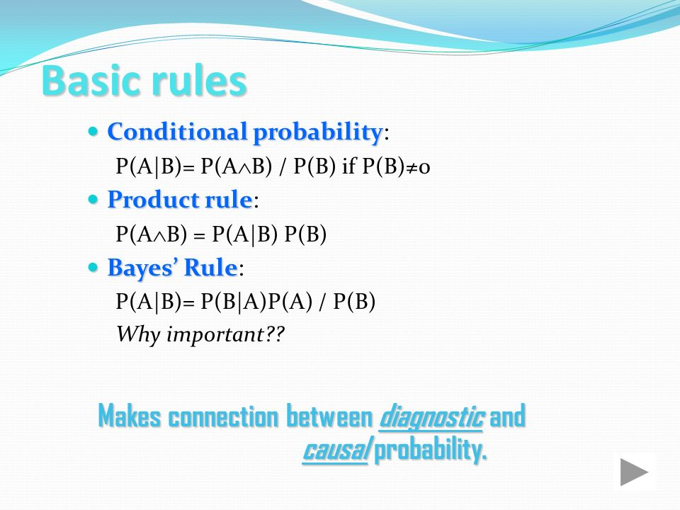 Basic rules Conditional probability: P(A|B)= P(AB) / P(B) if P(B)≠0. Product rule: P(AB) = P(A|B) P(B)