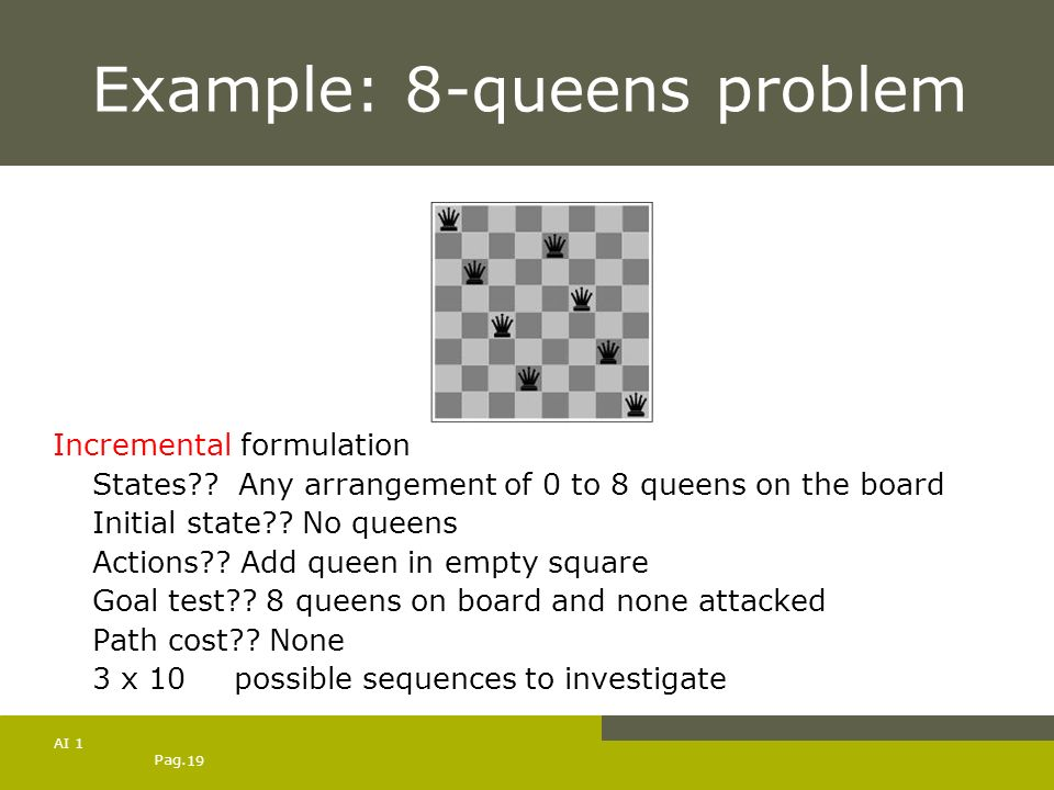 Example: 8-queens problem