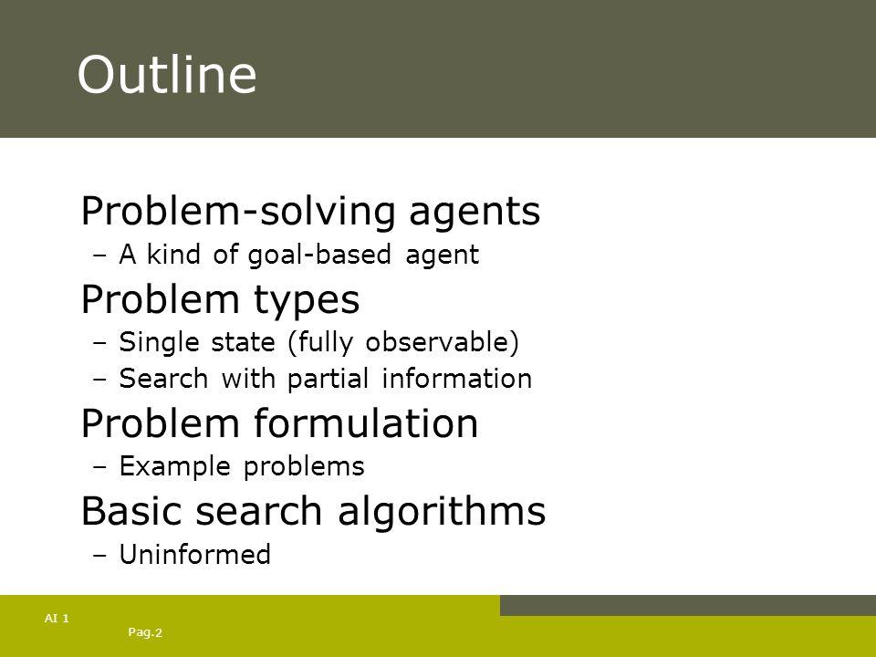 Outline Problem-solving agents Problem types Problem formulation