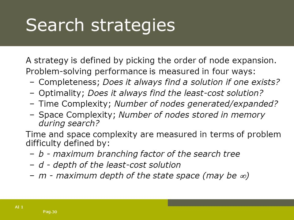 Search strategiesA strategy is defined by picking the order of node expansion. Problem-solving performance is measured in four ways:
