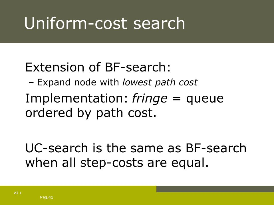Uniform-cost search Extension of BF-search: