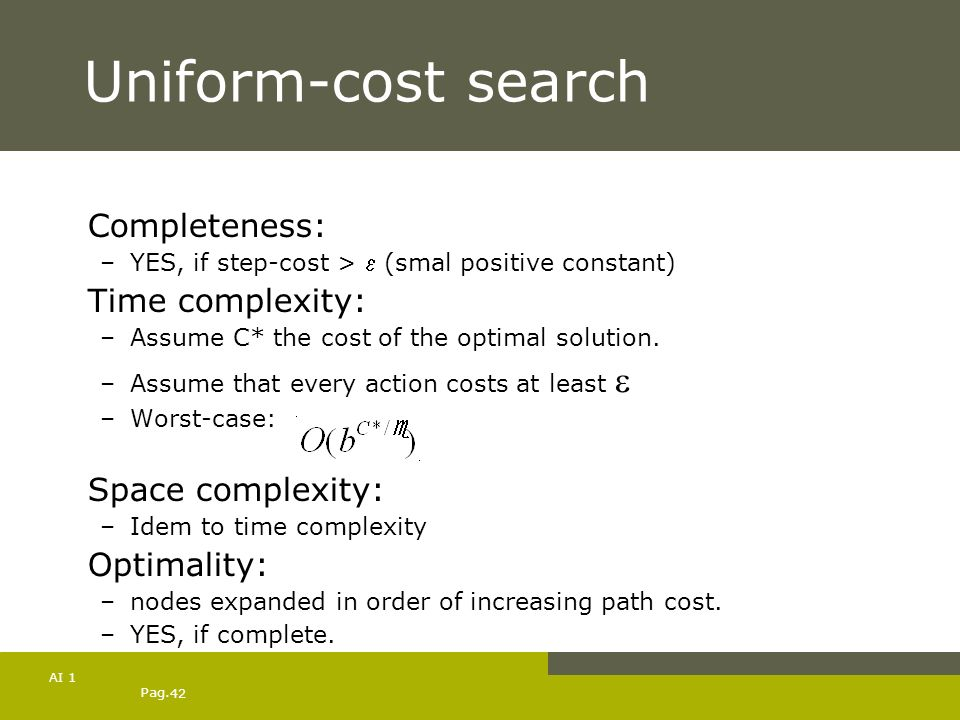 Uniform-cost search Completeness: Time complexity: Space complexity:
