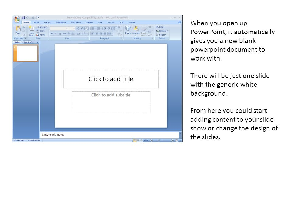 When you open up PowerPoint, it automatically gives you a new blank powerpoint document to work with.