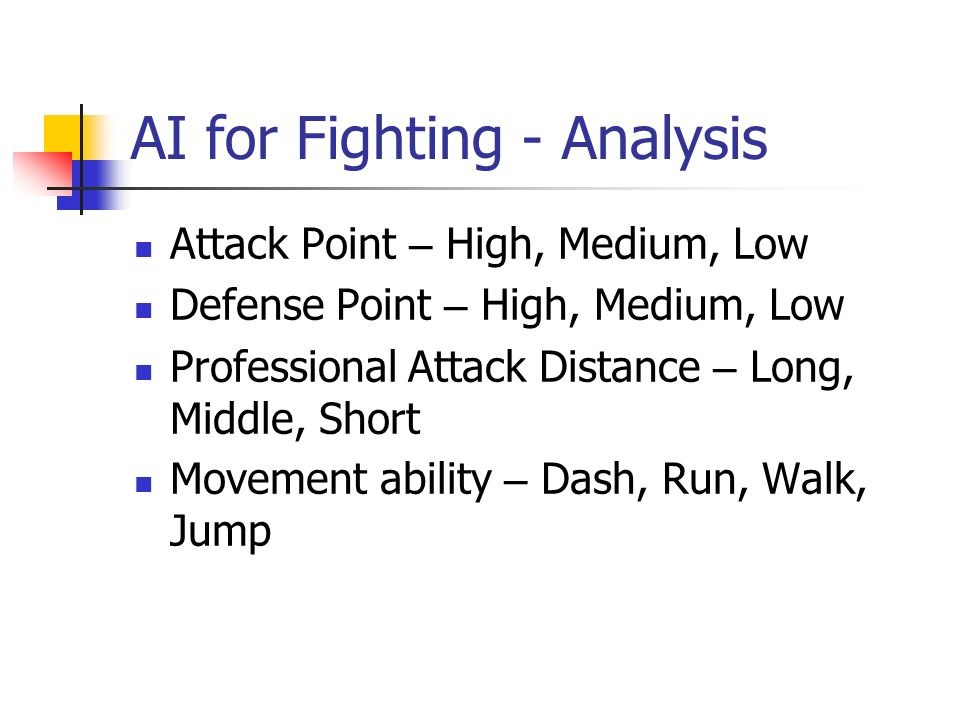 AI for Fighting - Analysis