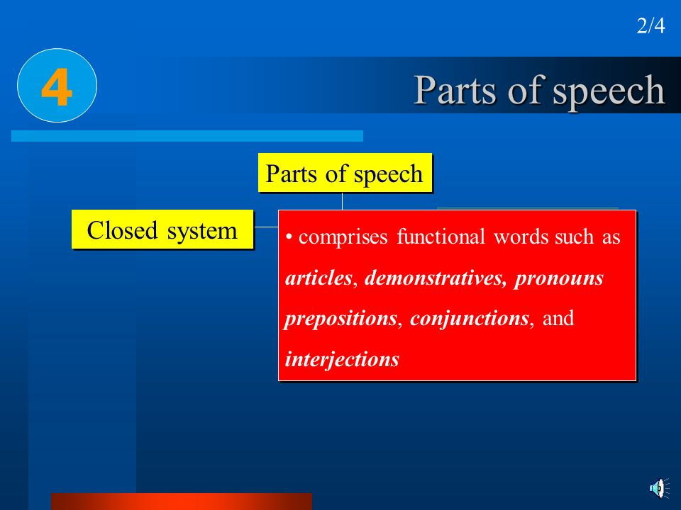 4 Parts of speech Parts of speech Open class Closed system 2/4