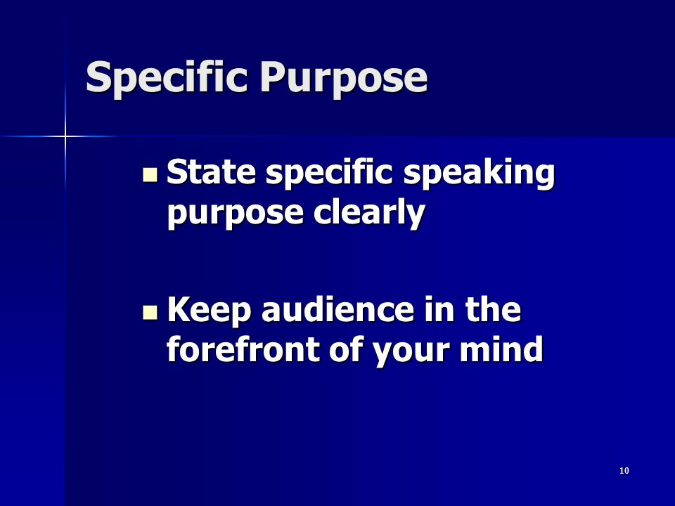 Specific Purpose State specific speaking purpose clearly