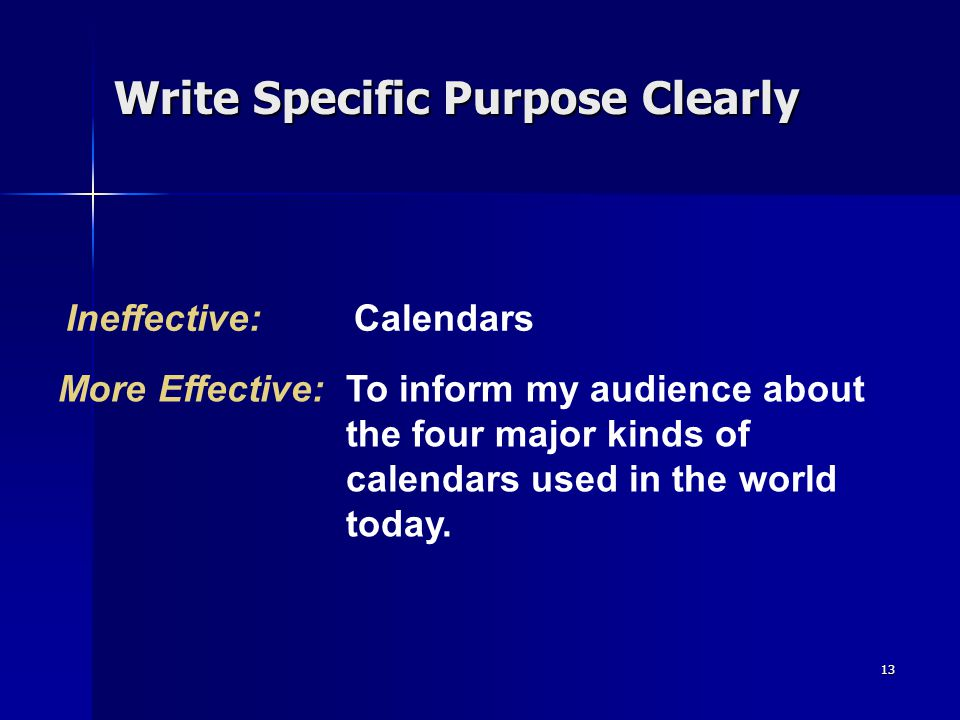 Write Specific Purpose Clearly