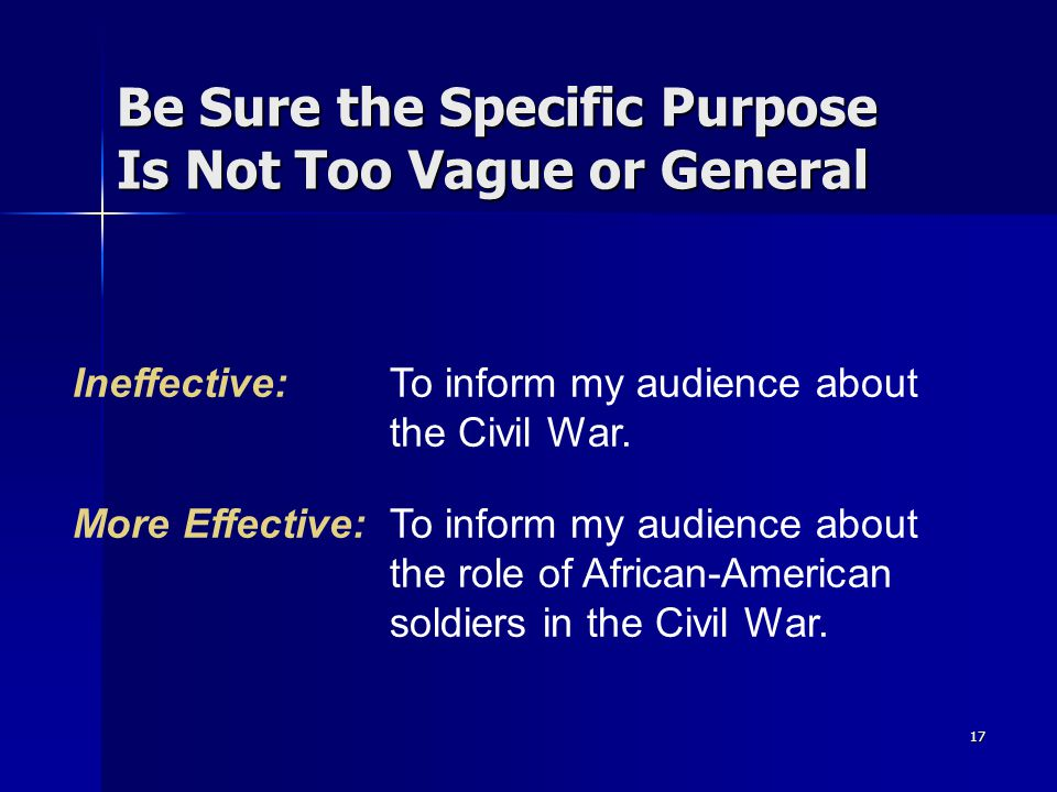 Be Sure the Specific Purpose Is Not Too Vague or General
