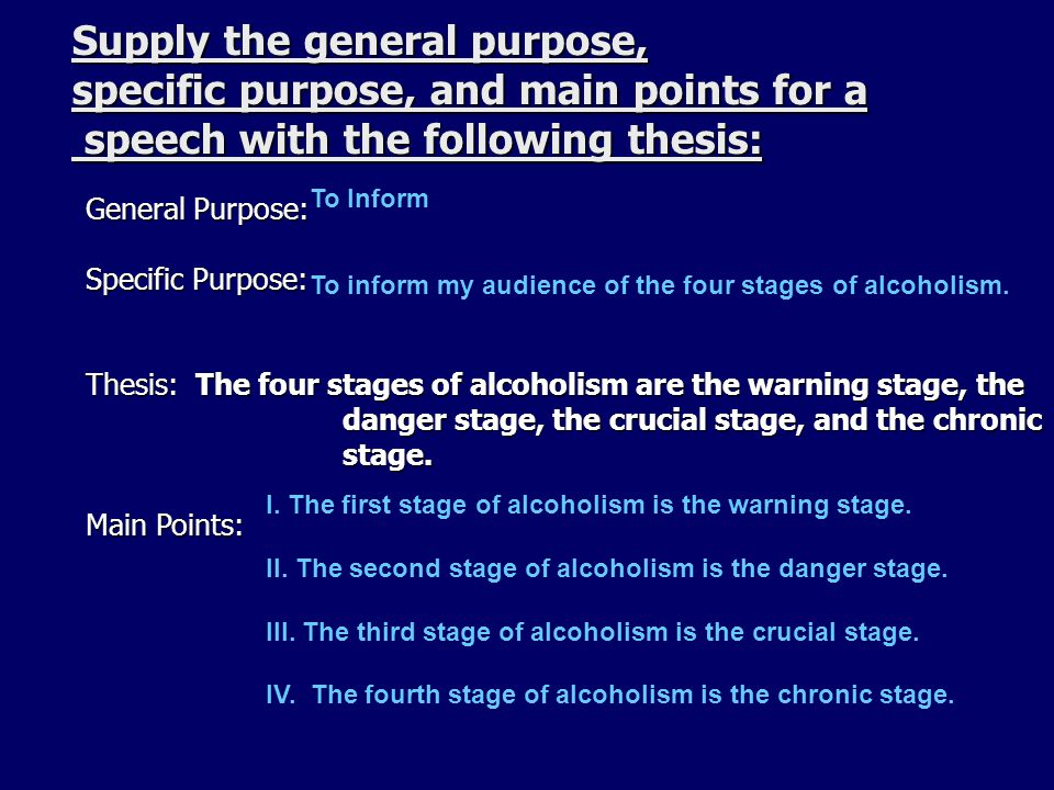 Supply the general purpose, specific purpose, and main points for a speech with the following thesis: